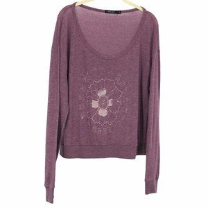 Obey purple slouchy pullover long sleeve tee